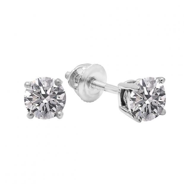 0.25 Carat (ctw) 10K White Gold Round Lab Grown White Diamond Ladies Stud Earrings 1/4 CT