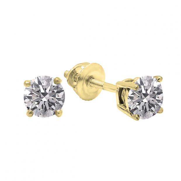 0.25 Carat (ctw) 10K Yellow Gold Round Lab Grown White Diamond Ladies Stud Earrings 1/4 CT