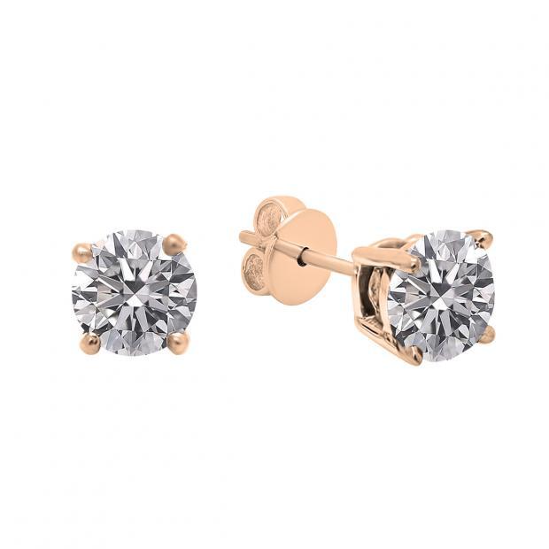 0.25 Carat (ctw) 14K Rose Gold Round Lab Grown White Diamond Ladies Stud Earrings 1/4 CT