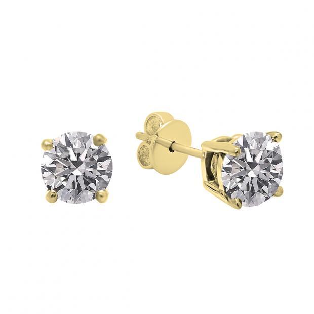 0.25 Carat (ctw) 14K Yellow Gold Round Lab Grown White Diamond Ladies Stud Earrings 1/4 CT