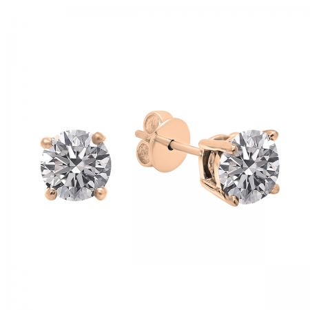 0.25 Carat (ctw) 18K Rose Gold Round Lab Grown White Diamond Ladies Stud Earrings 1/4 CT