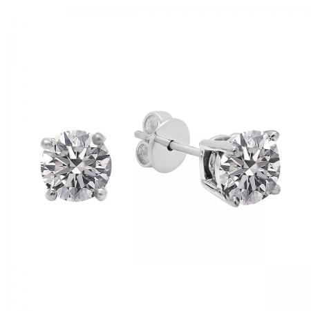 0.25 Carat (ctw) 18K White Gold Round Lab Grown White Diamond Ladies Stud Earrings 1/4 CT