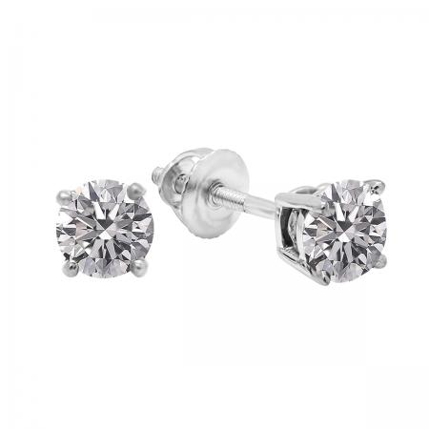 0.25 Carat (ctw) 18K White Gold Round Lab Grown White Diamond Ladies Stud Earrings 1/4 CT