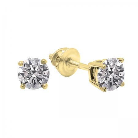 0.25 Carat (ctw) 18K Yellow Gold Round Lab Grown White Diamond Ladies Stud Earrings 1/4 CT