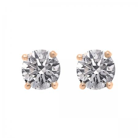 IGI CERTIFIED 0.50 Carat (ctw) 10K Rose Gold Round Lab Grown Diamond Ladies Stud Earrings 1/2