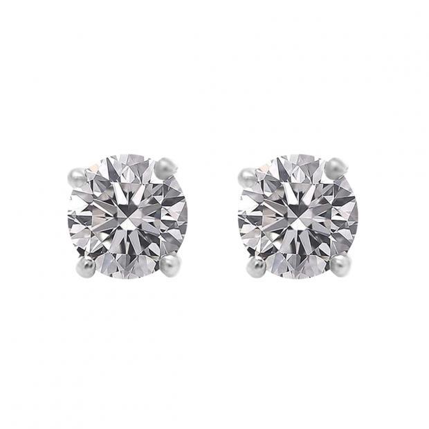 0.50 Carat (ctw) 10K Yellow Gold Round Lab Grown White Diamond Ladies Stud Earrings 1/2 CT