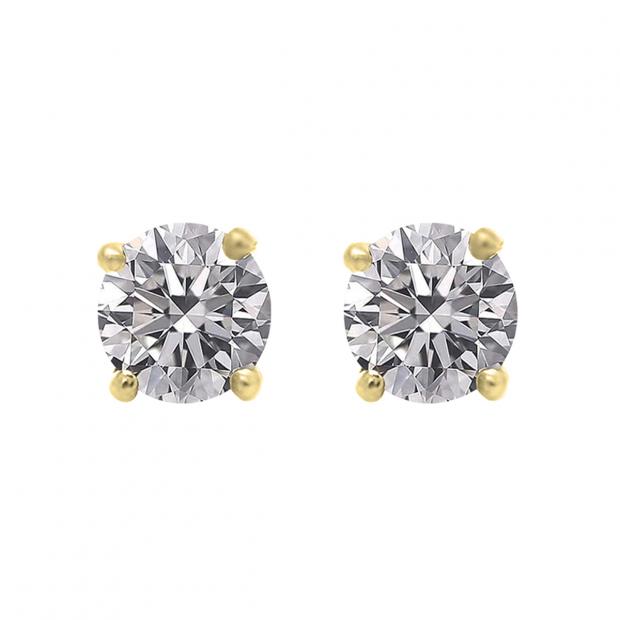 IGI CERTIFIED 0.50 Carat (ctw) 14K Yellow Gold Round Lab Grown Diamond Ladies Stud Earrings 1/2