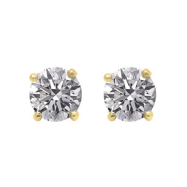 0.50 Carat (ctw) 14K Yellow Gold Round Lab Grown White Diamond Ladies Stud Earrings 1/2 CT