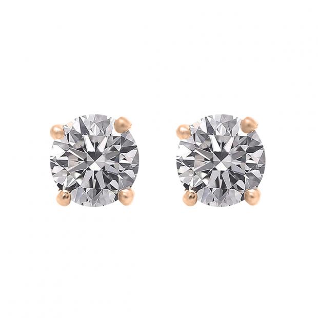 IGI CERTIFIED 0.50 Carat (ctw) 18K Rose Gold Round Lab Grown Diamond Ladies Stud Earrings 1/2
