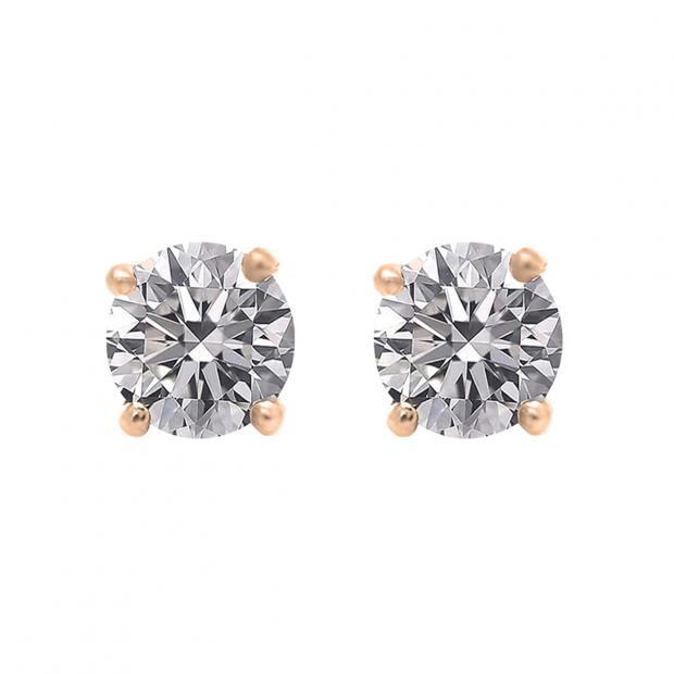 0.50 Carat (ctw) 18K Rose Gold Round Lab Grown White Diamond Ladies Stud Earrings 1/2 CT