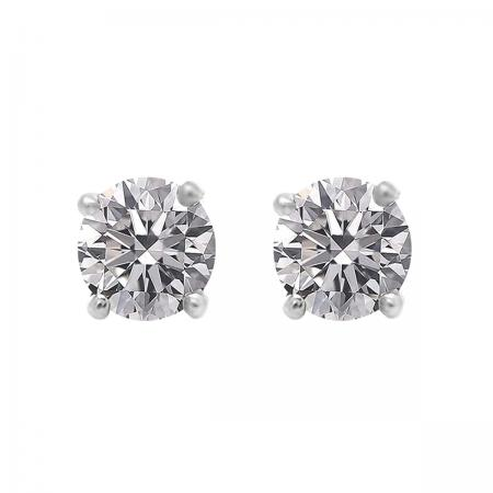 0.50 Carat (ctw) 18K White Gold Round Lab Grown White Diamond Ladies Stud Earrings 1/2 CT
