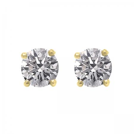 IGI CERTIFIED 0.50 Carat (ctw) 18K Yellow Gold Round Lab Grown Diamond Ladies Stud Earrings 1/2