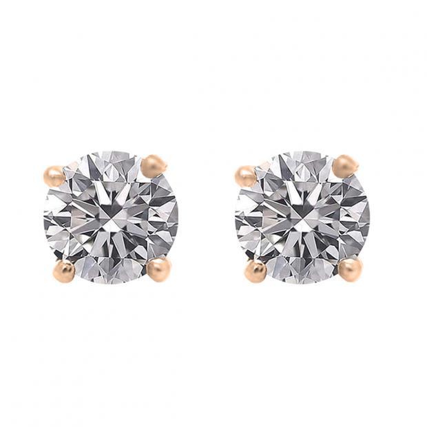 0.75 Carat (ctw) 10K Rose Gold Round Lab Grown White Diamond Ladies Stud Earrings 3/4 CT
