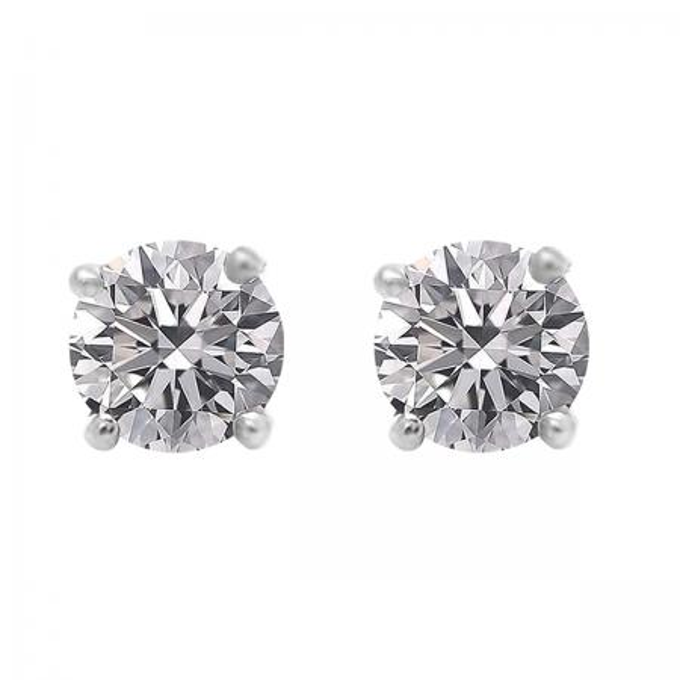 0.75 Carat (ctw) 10K White Gold Round Lab Grown White Diamond Ladies Stud Earrings 3/4 CT