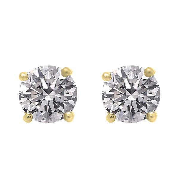 0.75 Carat (ctw) 10K Yellow Gold Round Lab Grown White Diamond Ladies Stud Earrings 3/4 CT