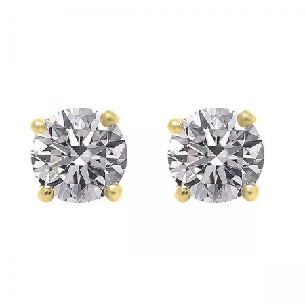 0.75 Carat (ctw) 14K Yellow Gold Round Lab Grown White Diamond Ladies Stud Earrings 3/4 CT