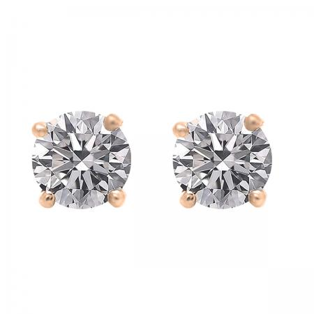 0.75 Carat (ctw) 18K Rose Gold Round Lab Grown White Diamond Ladies Stud Earrings 3/4 CT