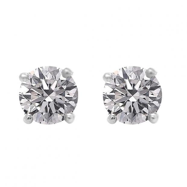 0.75 Carat (ctw) 18K White Gold Round Lab Grown White Diamond Ladies Stud Earrings 3/4 CT