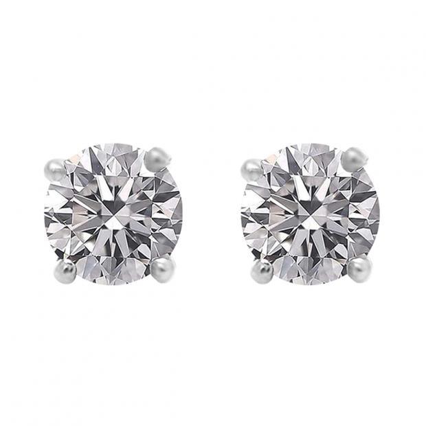 1.00 Carat (ctw) 10K White Gold Round Lab Grown White Diamond Ladies Stud Earrings 1 CT