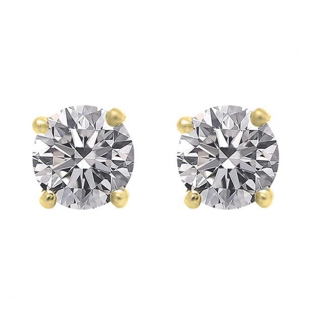 1.00 Carat (ctw) 10K Yellow Gold Round Lab Grown White Diamond Ladies Stud Earrings 1 CT