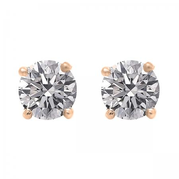 1.00 Carat (ctw) 14K Rose Gold Round Lab Grown White Diamond Ladies Stud Earrings 1 CT