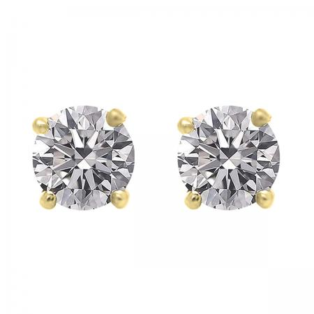 IGI CERTIFIED 1.00 Carat (ctw) 14K Yellow Gold Round Lab Grown Diamond Ladies Stud Earrings 1 CT