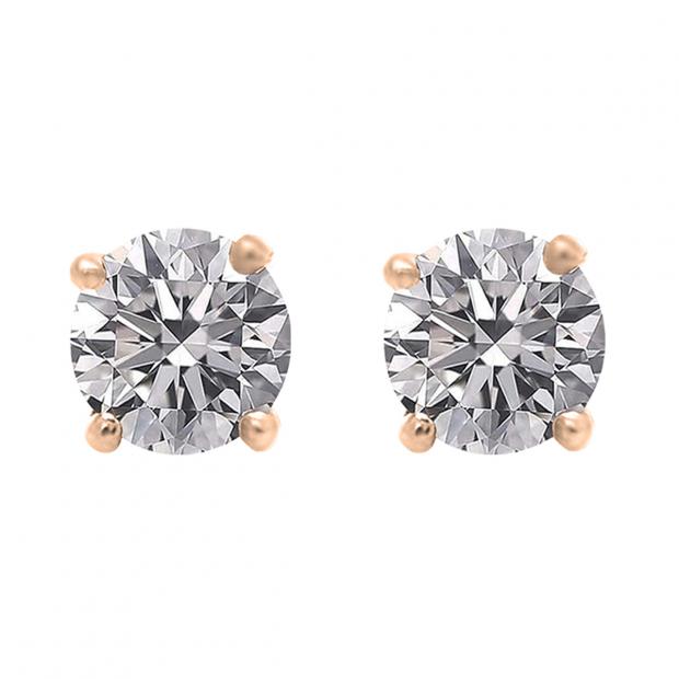 IGI CERTIFIED 1.00 Carat (ctw) 18K Rose Gold Round Lab Grown Diamond Ladies Stud Earrings 1 CT