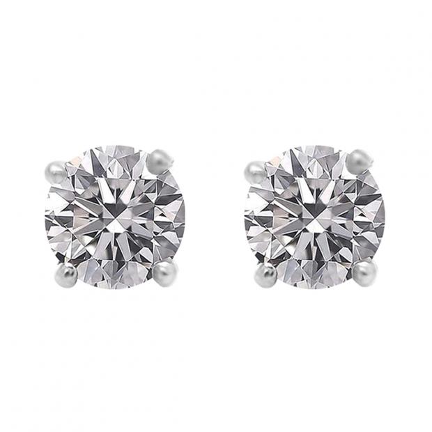 IGI CERTIFIED 1.00 Carat (ctw) 18K White Gold Round Lab Grown Diamond Ladies Stud Earrings 1 CT