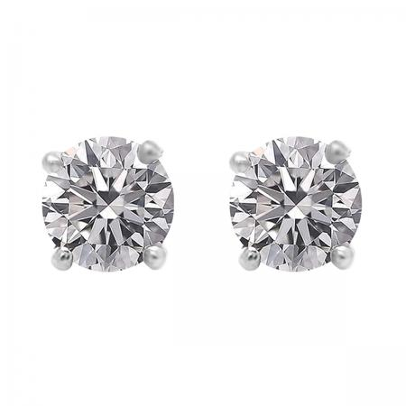 1.00 Carat (ctw) 18K White Gold Round Lab Grown White Diamond Ladies Stud Earrings 1 CT