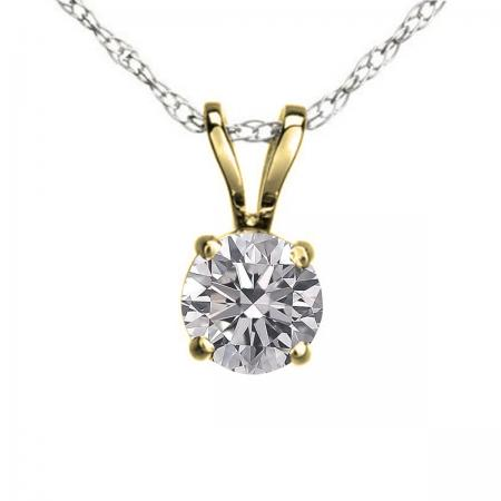 0.25 Carat (ctw) 14K Yellow Gold Round Lab Grown White Diamond Ladies Solitaire Pendant 1/4 CT