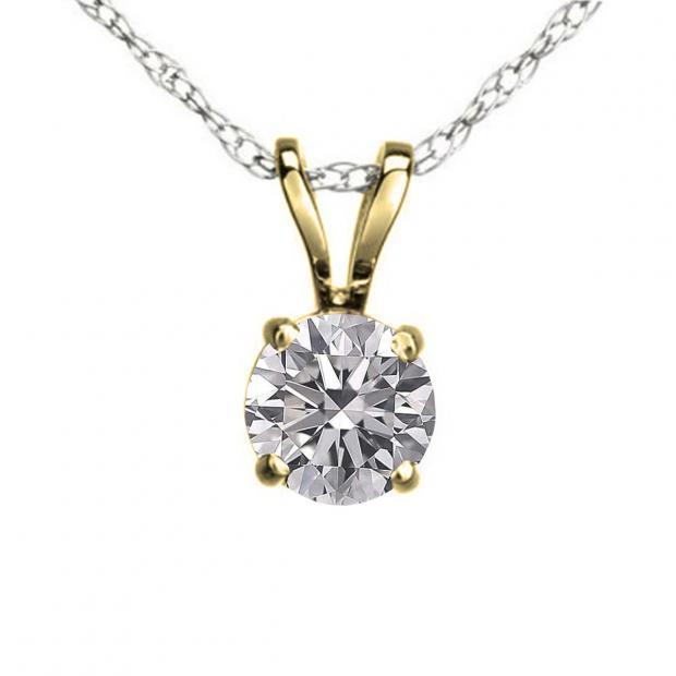 0.25 Carat (ctw) 18K Yellow Gold Round Lab Grown White Diamond Ladies Solitaire Pendant 1/4 CT