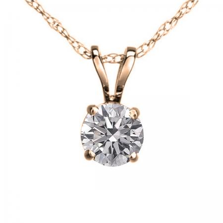 IGI CERTIFIED 0.25 Carat (ctw) 10K Rose Gold Round Lab Grown Diamond Ladies Pendant 1/4 CT