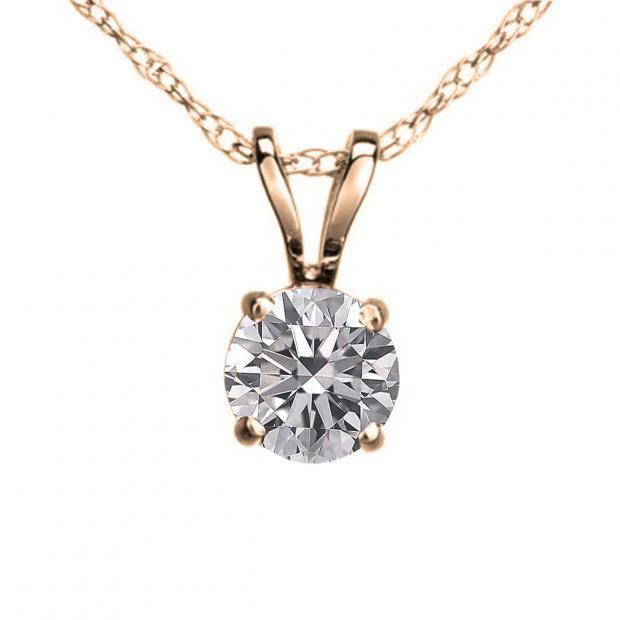 0.25 Carat (ctw) 10K Rose Gold Round Lab Grown White Diamond Ladies Solitaire Pendant 1/4 CT
