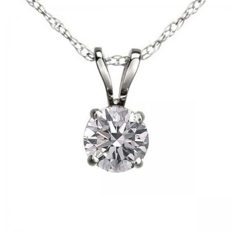 0.25 Carat (ctw) 10K White Gold Round Lab Grown White Diamond Ladies Solitaire Pendant 1/4 CT