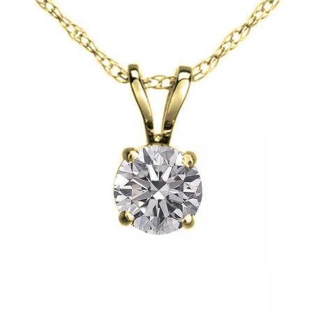 0.25 Carat (ctw) 10K Yellow Gold Round Lab Grown White Diamond Ladies Solitaire Pendant 1/4 CT