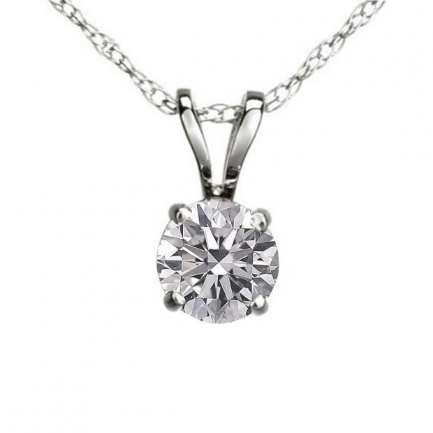 0.25 Carat (ctw) 14K White Gold Round Lab Grown White Diamond Ladies Solitaire Pendant 1/4 CT