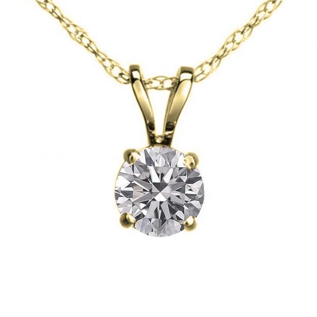 IGI CERTIFIED 0.25 Carat (ctw) 14K Yellow Gold Round Lab Grown Diamond Ladies Pendant 1/4 CT