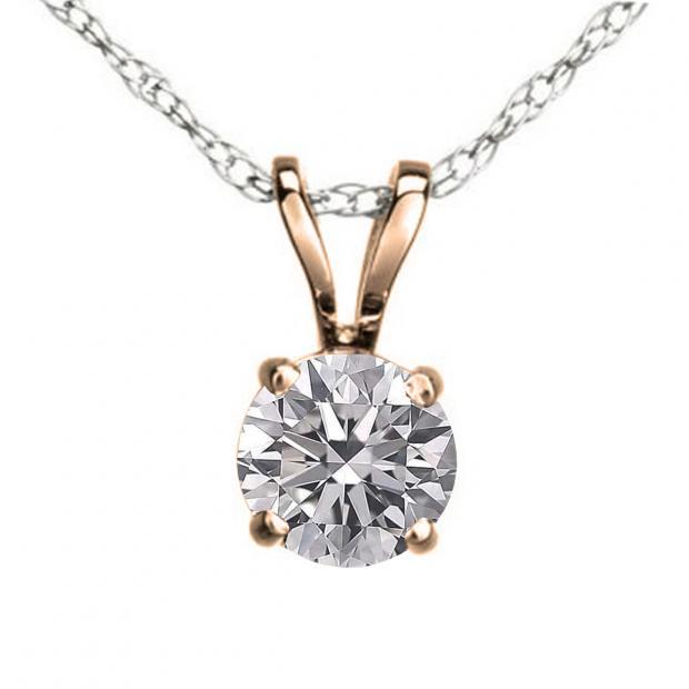 0.50 Carat (ctw) 10K Rose Gold Round Lab Grown White Diamond Ladies Solitaire Pendant 1/2 CT