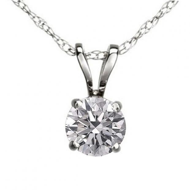 0.50 Carat (ctw) 14K White Gold Round Lab Grown White Diamond Ladies Solitaire Pendant 1/2 CT