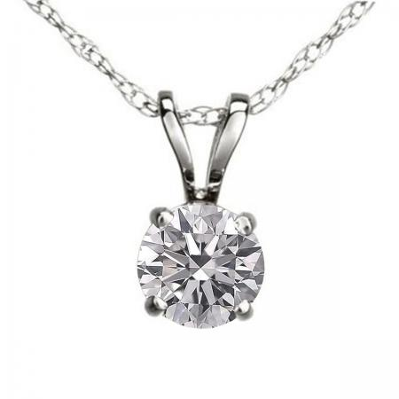 0.50 Carat (ctw) 18K White Gold Round Lab Grown White Diamond Ladies Solitaire Pendant 1/2 CT