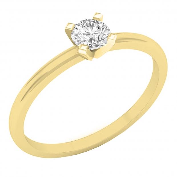 IGI CERTIFIED 0.25 Carat (ctw) 10K Yellow Gold Round Lab Grown Diamond Ladies Solitaire Ring 1/4 CT