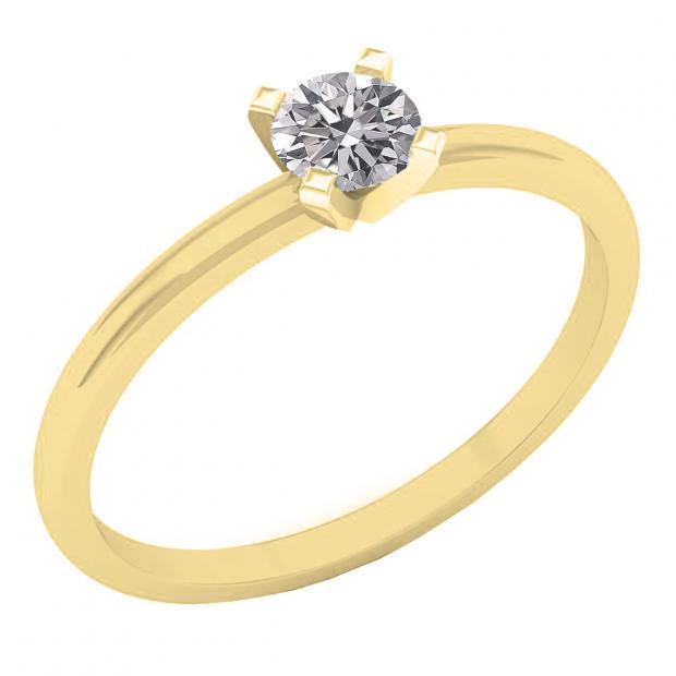 0.25 Carat (ctw) 10K Yellow Gold Round Lab Grown White Diamond Ladies Solitaire Engagement Ring