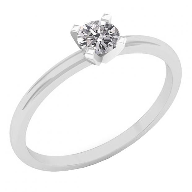 0.25 Carat (ctw) 14K White Gold Round Lab Grown White Diamond Ladies Solitaire Engagement Ring
