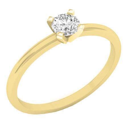 IGI CERTIFIED 0.25 Carat (ctw) 14K Yellow Gold Round Lab Grown Diamond Ladies Solitaire Ring 1/4 CT