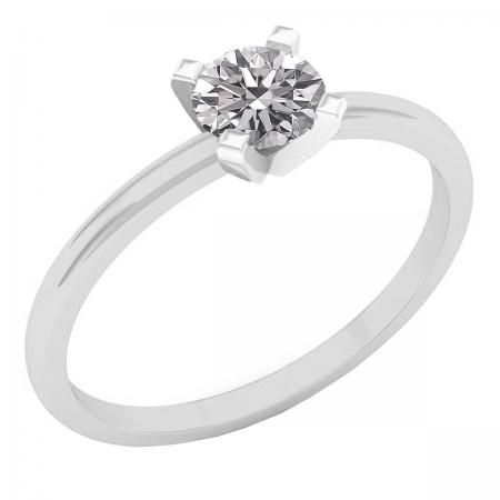 0.50 Carat (ctw) 10K White Gold Round Lab Grown Diamond Ladies Solitaire Engagement Ring 1/2 CT
