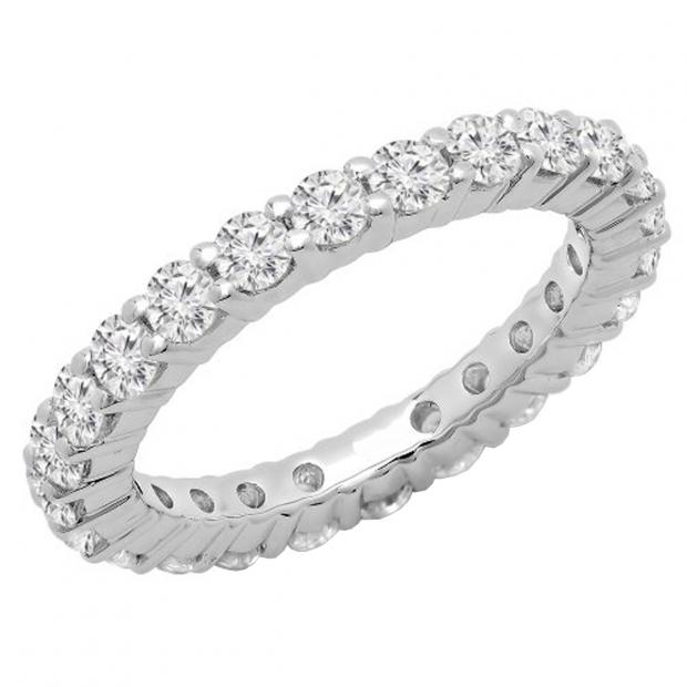 2.00 Carat (ctw) 10K White Gold Round Lab Grown Diamond Ladies Eternity Wedding Stackable Ring Band