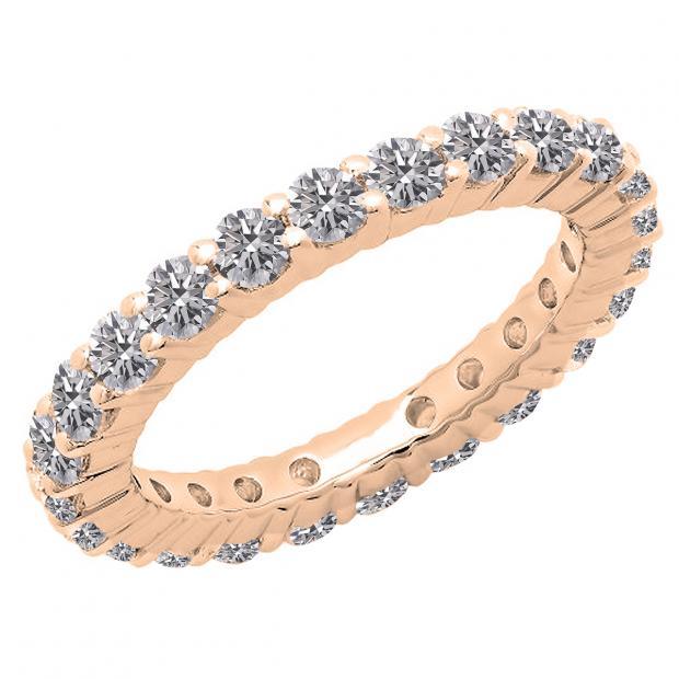 1 Carat (ctw) 14K Rose Gold Round Lab Grown Diamond Ladies Anniversary Wedding Band Ring