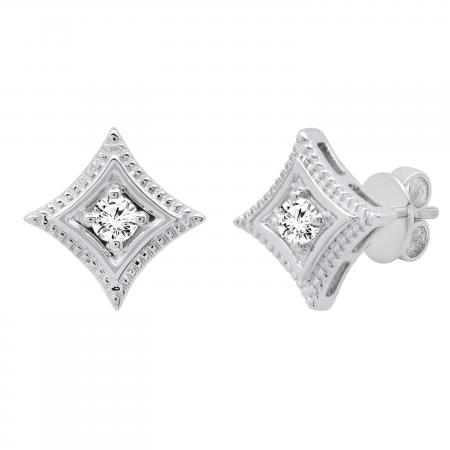 0.25 Carat (ctw) Round Lab Grown Diamond Ladies Solitaire Kite Stud Earrings 1/4 CT, Sterling Silver
