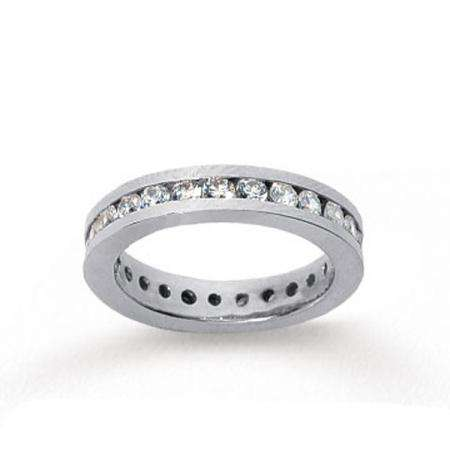 14k White Gold Real Diamond Channel Eternity Band (1.50 CT)