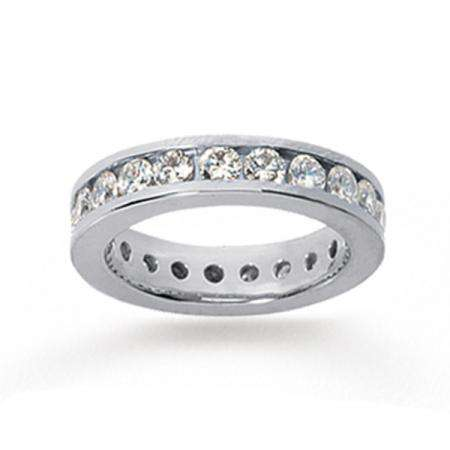 14k White Gold Real Diamond Channel Eternity Band (2.00 CT)